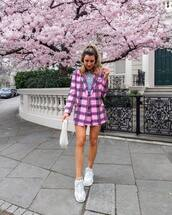 jacket,plaid blazer,pink blazer,double breasted,plaid skirt,mini skirt,sneakers,top,white bag