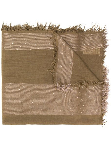 Peserico fringed edge scarf in brown