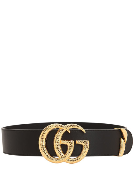 GUCCI 50mm Gg Snake Buckle Leather Belt in black