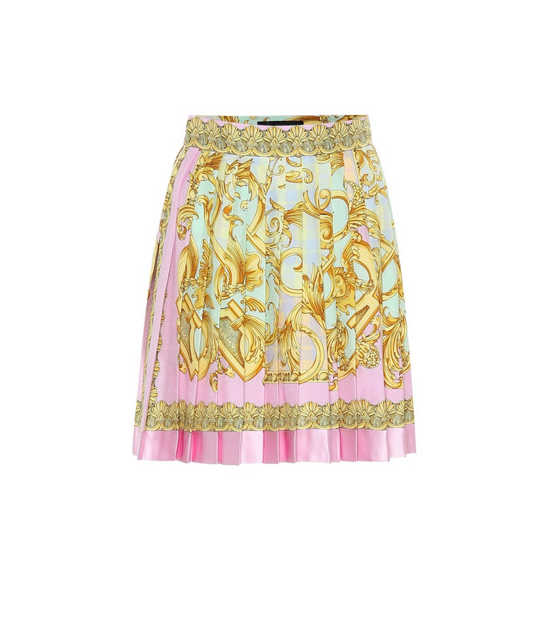 Versace Exclusive to Mytheresa – Printed silk miniskirt in gold