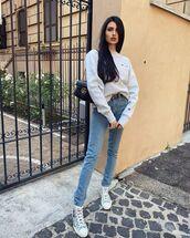 sweater,sweatshirt,sneakers,skinny jeans,black bag,gucci bag