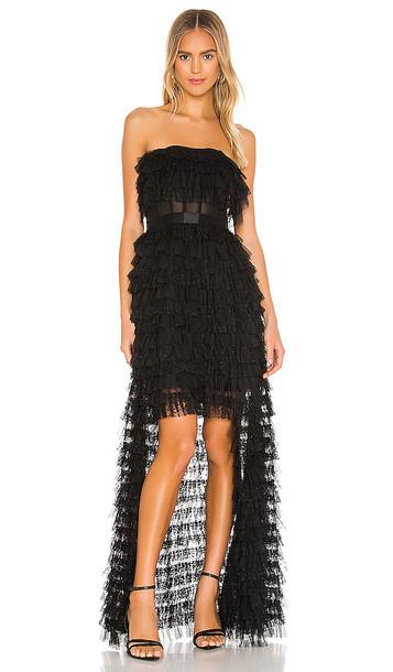 BCBGMAXAZRIA Strapless High-Low Gown in Black