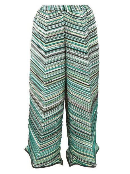 Issey Miyake - Striped Technical Pleated Jersey Trousers - Womens - Green Multi