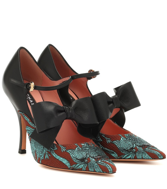 Rochas Brocade and leather pumps in black