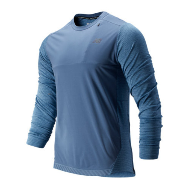 New Balance 93256 Men's Q Speed Run Crew Pullover - Blue (MT93256CKY)
