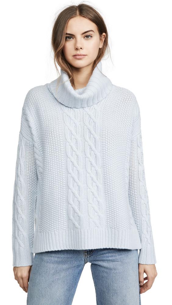 TSE Cashmere Cowl Neck Cashmere Poncho Sweater in blue