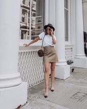 skirt,mini skirt,high waisted skirt,slingbacks,white t-shirt,crossbody bag,hat