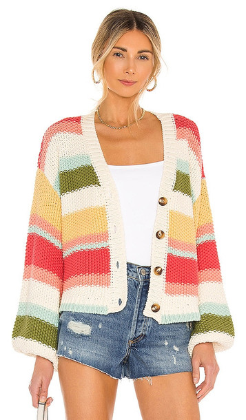 Show Me Your Mumu Good Karma Cardigan in Pink,Cream