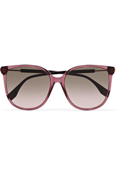 Fendi - Square-frame Acetate And Gold-tone Sunglasses - Purple