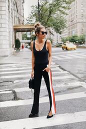 hello fashion,blogger,pants,sweater,sunglasses,jacket,bag,jewels,shoes,tank top,make-up