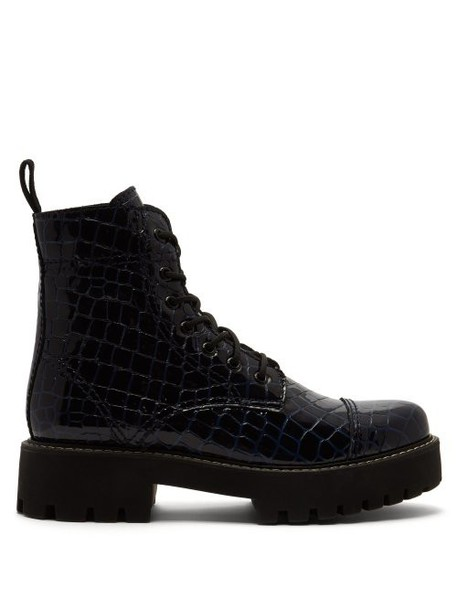 Alexachung - Crocodile Effect Leather Boots - Womens - Navy