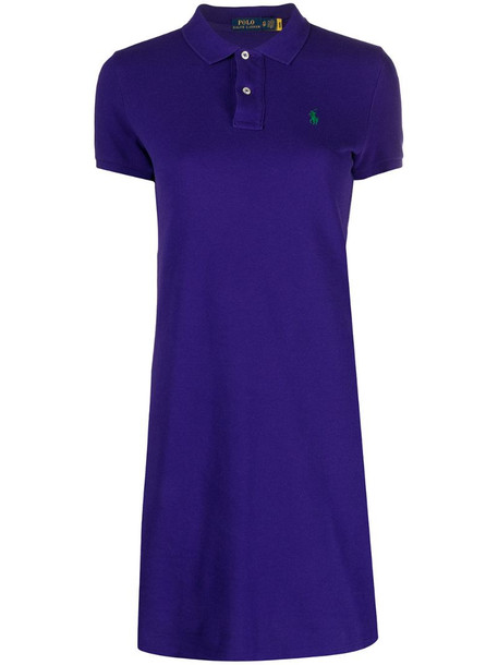 Polo Ralph Lauren embroidered logo polo dress in purple