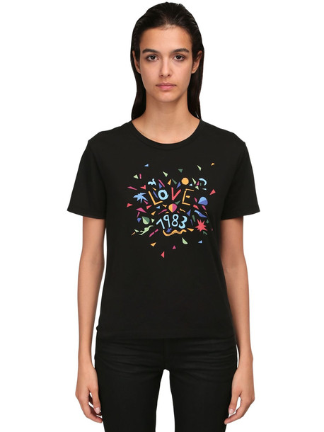 SAINT LAURENT Love 1983 Printed Cotton Jersey T-shirt in black / multi