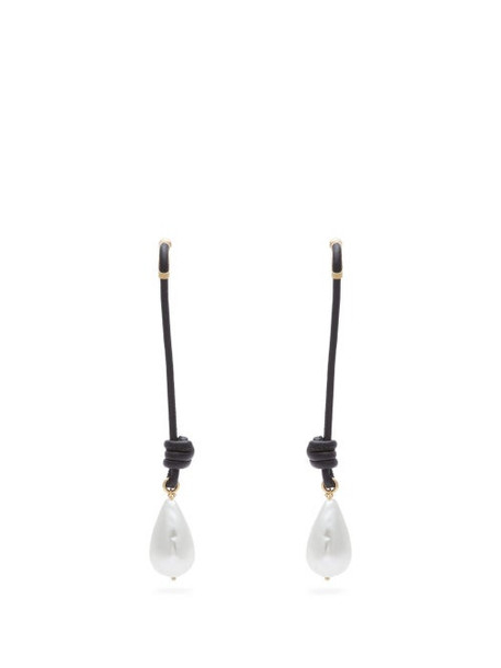 Burberry - Faux Pearl And Knotted Cord Drop Earrings - Womens - Black Gold