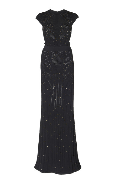 Zuhair Murad Pamplona Embellished Open-Knit Dress in black