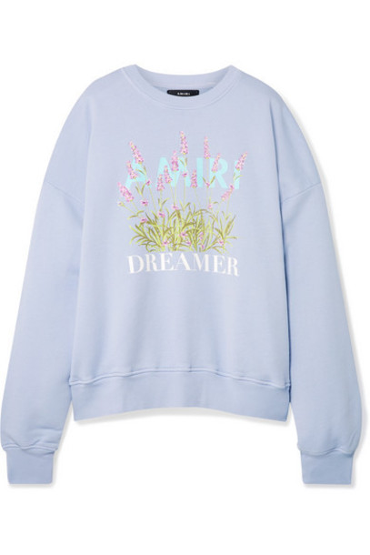 AMIRI - Oversized Printed Cotton-jersey Sweatshirt - Blue