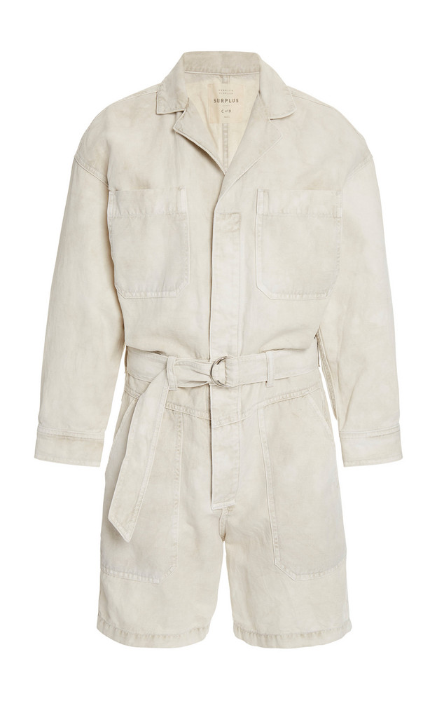 Citizens of Humanity Willa Belted Cotton-Linen Utility Romper in neutral