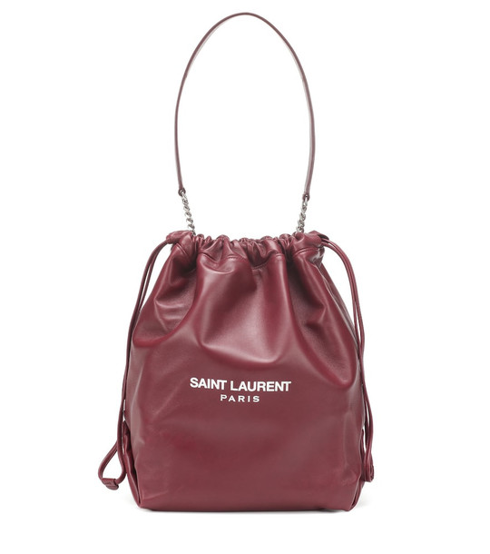 Saint Laurent Teddy leather bucket bag in red