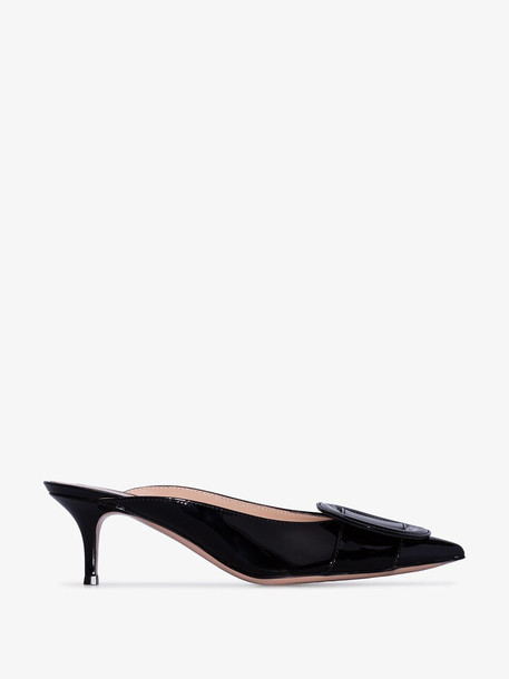 Gianvito Rossi Black Ruby 55 Round Buckle Mules