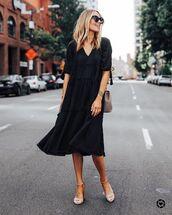 dress,black dress,midi dress,long sleeve dress,shoulder bag,sandal heels