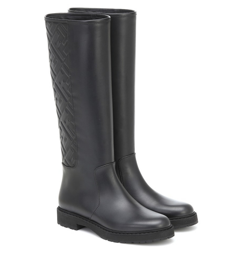 Fendi FF embossed leather knee-high boots in black