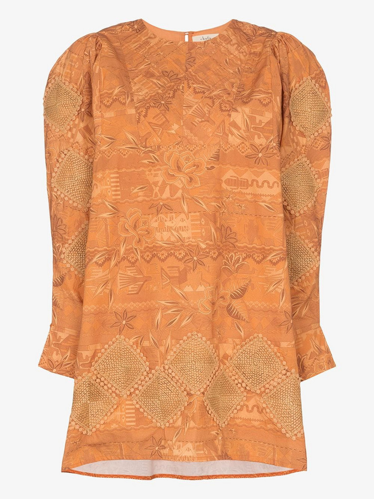 Chufy Miski printed embroidered dress in brown