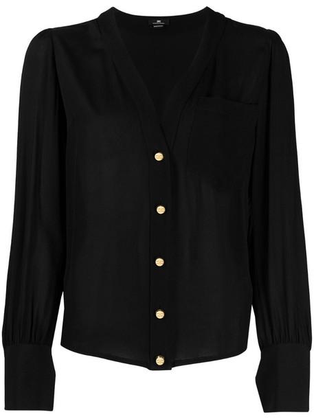 Elisabetta Franchi V-neck long-sleeve blouse in black