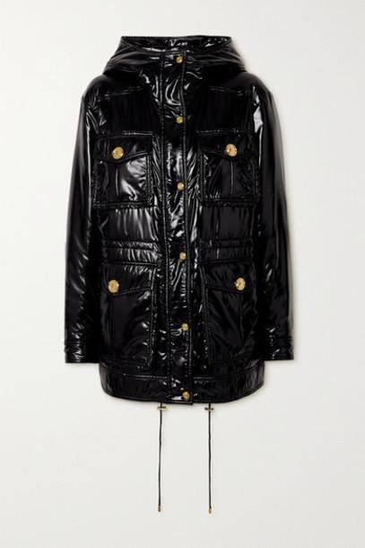 Balmain - Hooded Padded Glossed-shell Jacket - Black