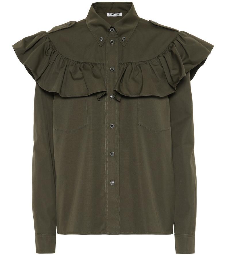 Miu Miu Cotton-popeline shirt in green