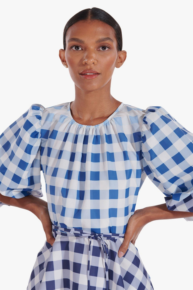 Staud LAURENCE TOP   BLUE OMBRE GINGHAM
