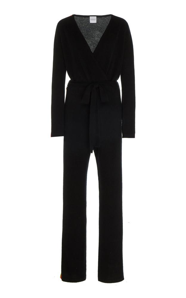 Madeleine Thompson Ajax Striped Cashmere Wrap-Front Jumpsuit in black