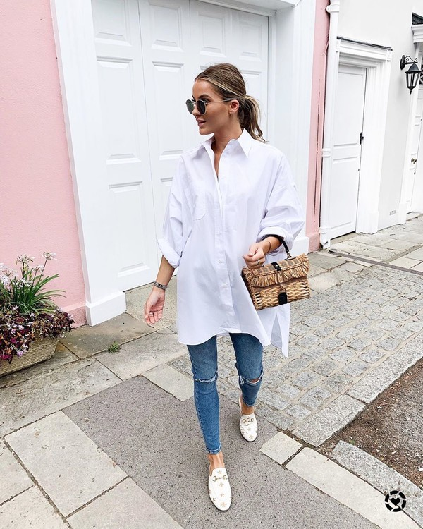top white shirt oversized skinny jeans ripped jeans mules handbag
