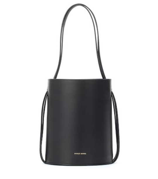 Mansur Gavriel Fringe leather bucket bag in black