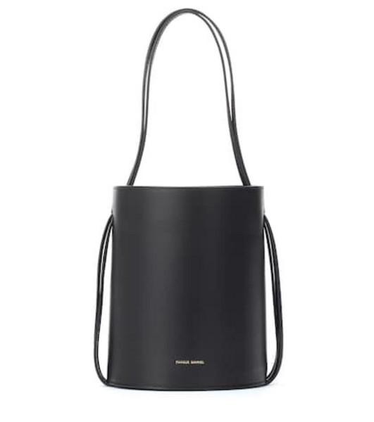Mansur Gavriel Fringe leather bucket bag in black