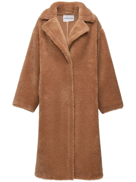 STAND STUDIO Maria Long Faux Teddy Coat in beige