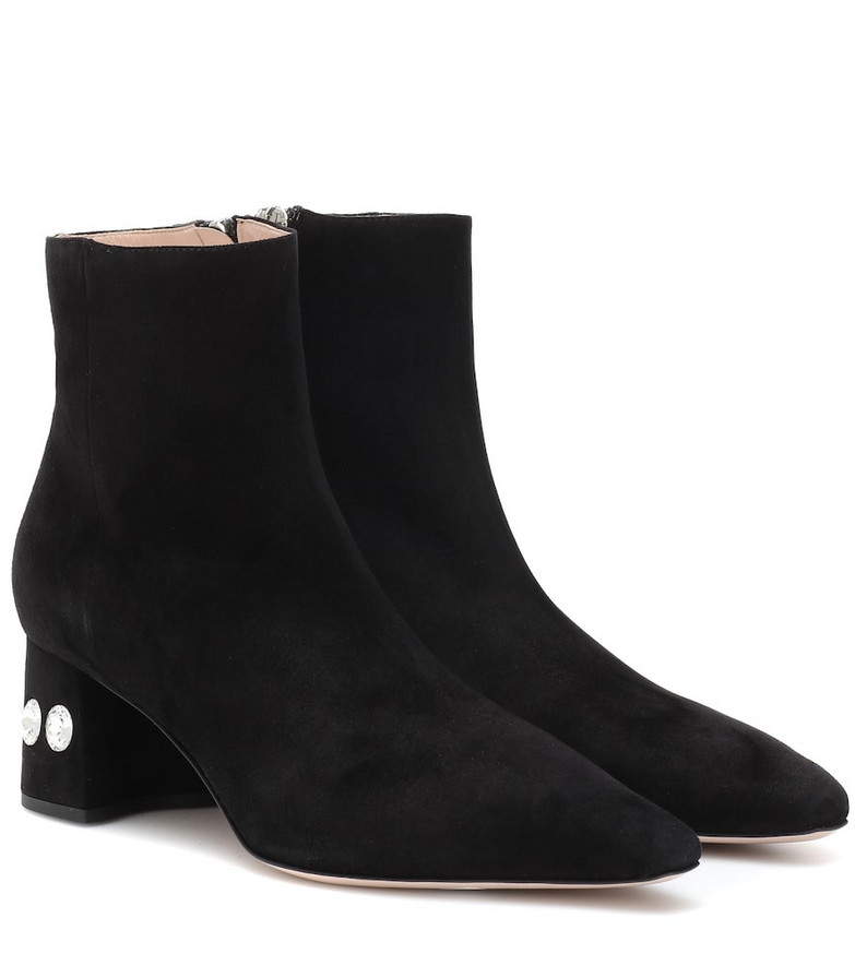Miu Miu Embellished suede ankle boots in black