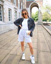 jacket,black jacket,denim jacket,sneakers,socks,white t-shirt,short