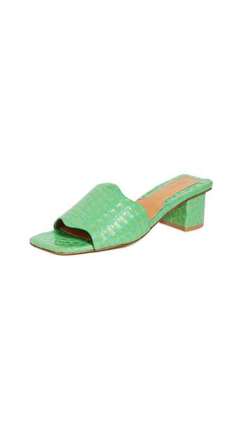 JAGGAR Scallop Croc Heel Slides in green