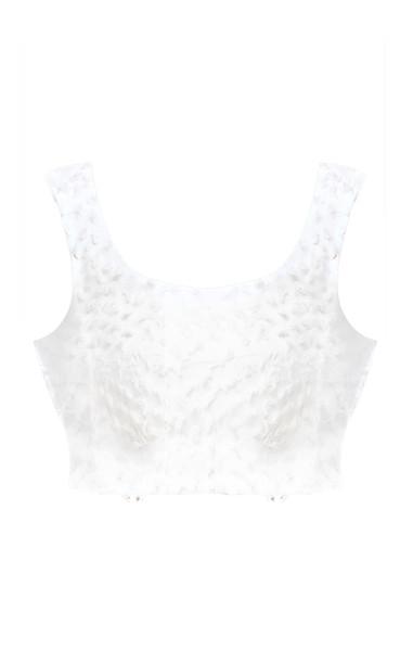Bambah White Fuzzy Sleeveless Crop Top Size: 10