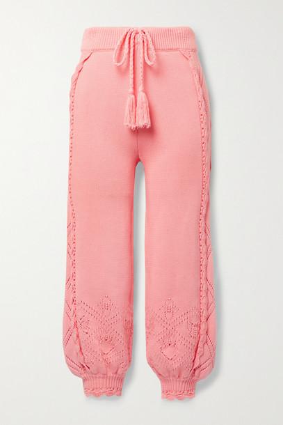LOVESHACKFANCY - Nyla Scalloped Pointelle-knit Cotton Track Pants - Orange