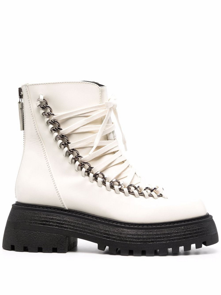 Alevì Alevì chain-embellished leather boots - White
