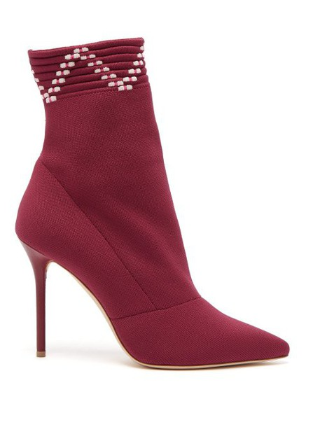 Malone Souliers - Mariah Sock Ankle Boots - Womens - Burgundy Multi