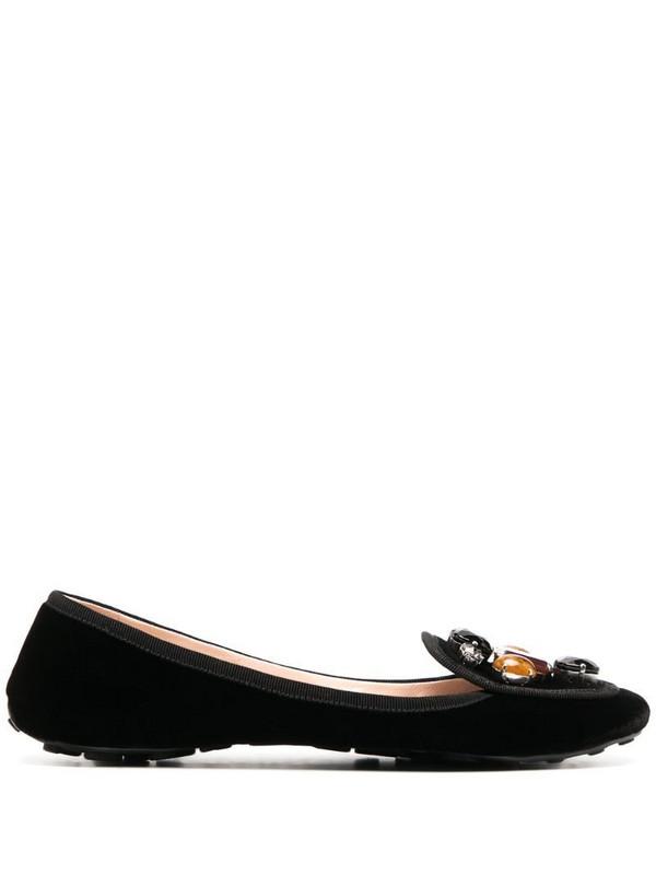 Car Shoe gem-embellished velvet pumps in black