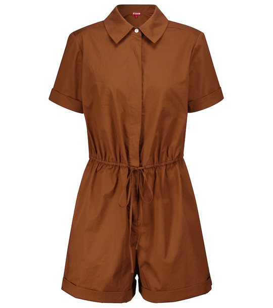 Staud Ludo stretch-cotton playsuit in brown