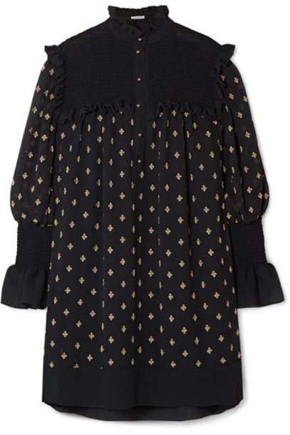 Philosophy di Lorenzo Serafini - Ruffled Embroidered Crepon Mini Dress - Black