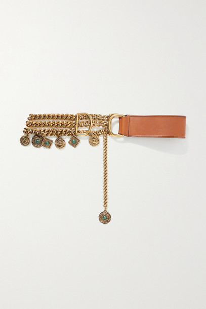 ETRO - Embellished Gold-tone And Leather Waist Belt - Brown