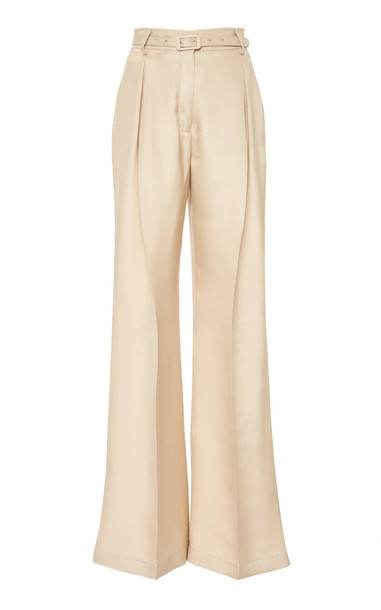 Gabriela Hearst Dora Flared Silk-Blend Trouser Size: 36 in neutral