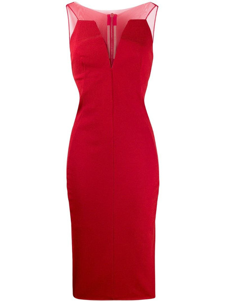 Rick Owens mesh-panelled dress in red
