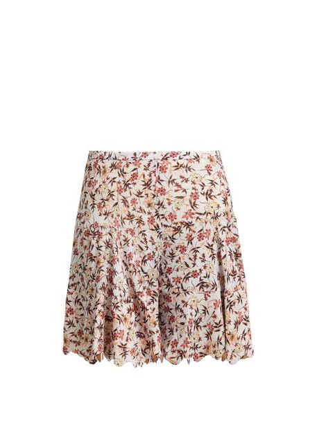 Chloé Chloé - Floral Print Scallop Edge Tiered Georgette Shorts - Womens - Grey Print