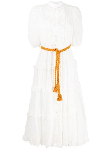 Zimmermann Amelie scallop frill midi dress in white